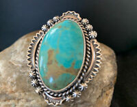 Women Navajo Native American Sterling Silver Blue  Turquoise#8 Ring Set S6.5 750