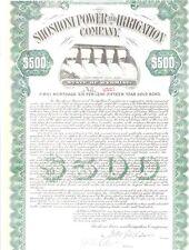 SHOSHONI POWER AND IRRIGATION COMPANY.....1912 GOLD MORTGAGE BOND