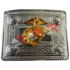 Scottish Kilt Belt Buckle Celtic Design with US Marine Badge Gold
