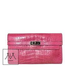 Hermes Kelly Long Wallet Clutch Crocodile Fuschia Pink Croc - 100% Authentic