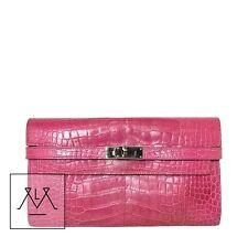 Hermes Kelly Long Wallet Clutch Crocodile Fuschia Pink Croc - 100% Authentic