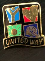 Vintage Collectible United Way Heart Sun Colorful Pinback Lapel Pin Hat Pin