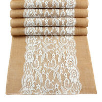 Hessian Burlap Lace Table Runner Tablecloth Wedding Party Home Table Decor