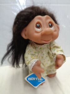 """NORFIN Lil L'il NIGHTY with tags dam troll doll 9"""" version 1980s nightgown"""