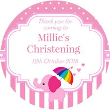 BABY SHOWER, CUTE ELEPHANT,  CHRISTENING ,PERSONALISED GLOSSY ,PARTY STICKERS