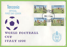 Tanzania 1990 World Cup Football set on First Day Cover