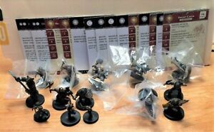 Lot of 14 D&D Minis Dwarves Gnomes Werebear with Cards  OOP