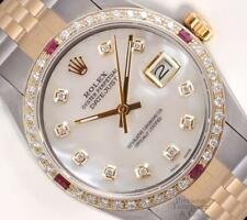 Rolex Datejust 36mm Two Tone Gold/SS 18k Ruby/Diamond Bezel-White Diamond MOP
