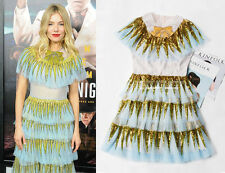 Celebrity Sequin Trim Embellished Bow Brooch Frill Layer Tiered Tulle Dress