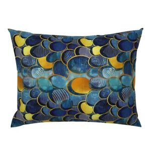 Abstract Modern Decor Blue Ocean Lake Watercolor Lined Pillow Sham by Roostery