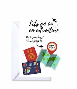 Personalised holiday destination scratch off card reveal surprise announcement