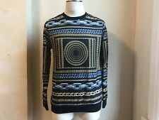 FOREVER 21 MEN BLACK GOLD & SILVER CHAINS PRINT ALLOVER SWEATSHIRT PULLOVER S M
