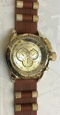 JUMBO BIG FACE GOLD MEN'S SPORT WATCH BROWN SILICON WITH GOLD BULLET BAND NEW!