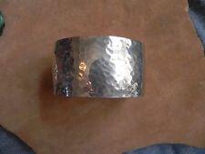 Hammered Sterling Silver Cuff Bracelet signed Navajo