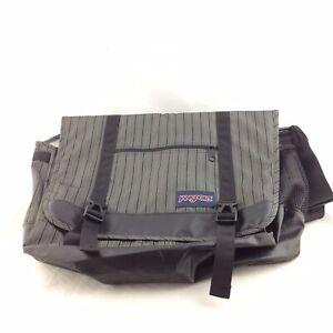 Jansport Stripped Gray And Black Messenger Crossbody Shoulder Bag Tote