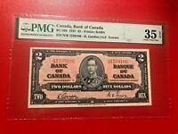 1937 CANADA, BANK OF CANADA BC-22B $2 D.GORDON G.F. TOWERS PMG 35 EPQ VERY FINE
