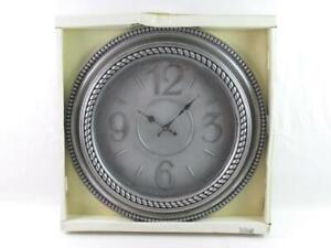 Decorative Wall Clock 20 Inch Original Box Gray Black Plastic Battery Operated