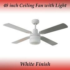 Fias Tash 4 Blade Ceiling Fan in White with Light