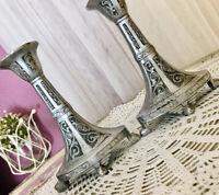 Antik Zinn 2 Leuchter Kerzenständer Kerzenhalter Jugendstil Zinnleuchter