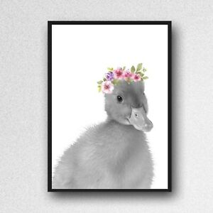 duck duckling  print PICTURE  WALL ART A4  unframed animal floral black  white