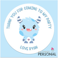 Personalised Monster 1st Birthday Party Stickers Thank You for Coming Sweet Cone
