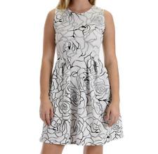 Lyss Loo Womens Dress Skater Pockets White Floral Shimmer Im Smitten Pleat Small