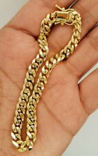 Fine Jewelry 18 Kt Real Solid Yellow Gold Cuban Link Chain Men'S Bracelet 6 MM