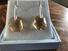 Swarovski Crystal Drop Earings Pale Amber & Silver Brand New