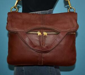FOSSIL ERIN Brown Leather Fold-Over Convertible Cross-Body Purse Shoulder Bag