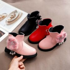 Toddler Infant Kids Winter Zip Baby Princess Fashion Shoes Crystal Leather Boots