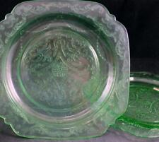 Federal Glass MADRID GREEN 2 Luncheon Plates GREAT CONDITION