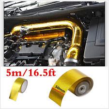 5x500cm Reflective Gold Tape High Performance Heat Insulation Wrap Turbo w/ Ties