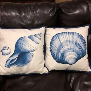 "2 Pottery Barn Cottage Beach Decor Shell Print 18"" Blue White Pillows"