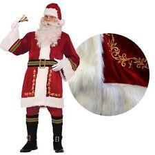 Deluxe Regal Plush Trim Santa Claus Father Christmas Suit Fancy Dress Costume BN