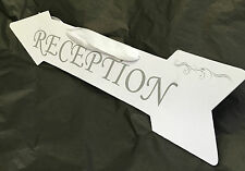 wedding reception sign directional arrow with satin ribbon handle decoration New