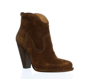 Frye Womens Madeline Short Suede Brown Ankle cowboy booties high heels Boots 7