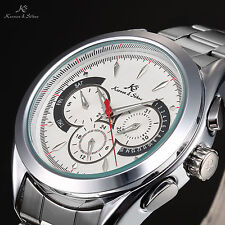 KS Men's Automatic Mechanical Day Date 24 Hours Stainless Steel Wrist Watch