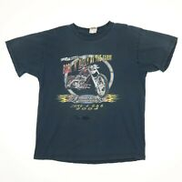Destroyed Farmington Biker Ralley T-Shirt LARGE Faded Black Distress Motorcycle