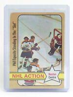 1972-73 NHL Action Phil Esposito Boston Centre #76 O-Pee-Chee Hockey Card I198