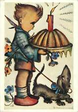 Postcard christmas boy with cake and dog etching