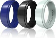 Arua Elegant Glossy Silicone Wedding Ring for Men. Thin, Comfortable, Durable Ru
