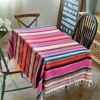 Square Mexican Hosserap Blanket Tassel Cotton Serape Tablecloth for Fiesta Party
