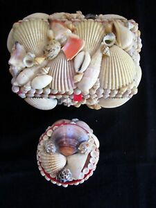 2 VINTAGE SEA SHELL ART TRINKET BOXES FOLK ART