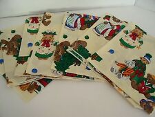 Lot of 7 Christmas Teddy Bear Cloth Napkins Tea Party Children Holiday