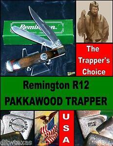 Remington R12 Trapper's Knife Pakkawood Inscribed Main Blade Box & Paperwork
