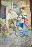 antico Acquerello figure d'epoca ,popolana al mercato firmato Charpentier 1888