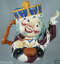 VINTAGE 2 FACED TEA POT OLD KING COLE SHORTER STAFFORDSHIRE ENGLAND HAND PAINTED