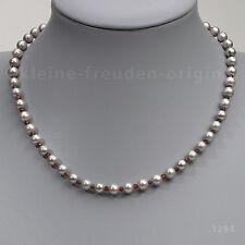 UNIKAT Kette Collier aus grauen Perlen und Granat Geschenk 1294