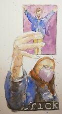 original watercolor and ink artwork - A Selfie with Rick