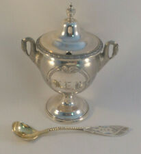 John Westervelt Newbury, NY Figural Coin Silver Mustard Pot & Spoon